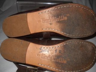gee wawa brown leather ankle strap ballet flats 8