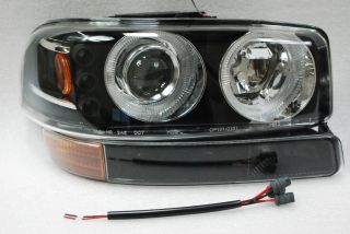 00 06 GMC Yukon 99 06 Sierra Twin Halo LED Projector Head Lights