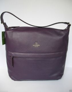 Authentic KATE SPADE Grant Park Manuela Genuine Leather Hobo Eggplant