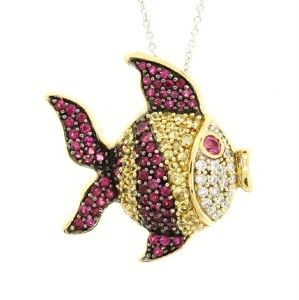 Yellow & White Gold Diamond Ruby Yellow Sapphire Fish Pendant Chain