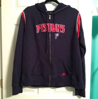 Adidas Womens Hoodie XL Sweatshirt Zip up Detroit Pistons NBA Blue Red