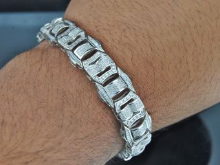Mens White Gold Finish Real White Diamond Bracelet Tennis Designer