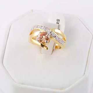 14kt Gold EP 1 5ct Sim Champagne Topaz CZ Criss Cross Ring