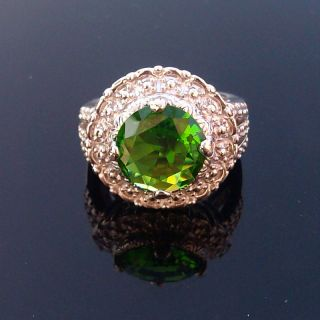 Jewelry Gift Silver Gemstone Ring Green Quartz Ring Size 6
