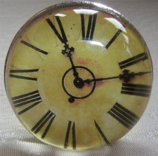 Vintage Antique Style Glass Clock Face Drawer Cupboard Door Knob