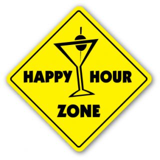 Happy Hour Zone Sign Bar Martini Drinker Gift Bartender Lounge Drink