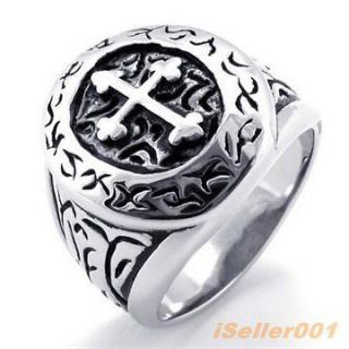 Vintage Cross Stainless Steel Mens Ring Size 8,9,10,11,12,1 3