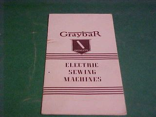 1938 Folder Catalog Graybar Electric Sewing Machines