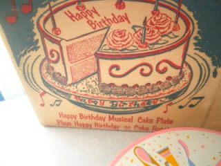 Vintage Tin Litho Revolving Happy Birthday Musical Cake Plate Working