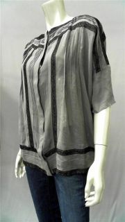 Gold Hawk Misses s Silk Blouse Top Gray Lace Short Sleeve Shirt