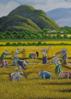 Rice Harvest 18x24 Philippine Modern Pinoy Art Oil Painting Listed
