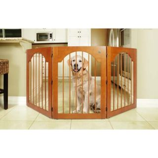 Universal Free Standing All Wood Pet Gate in Cherry