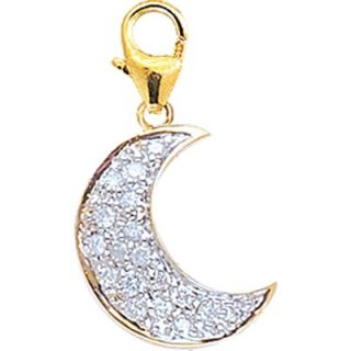 EZ Charms 14K Yellow Gold Diamond Moon Charm