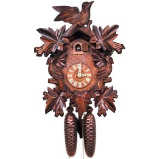 Black Forest Cuckoo Clock with 8 Day Weight Driven Movement and Leaf