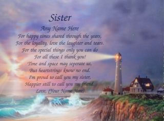 Personalized Poem for Sister Birthday or Christmas Gift