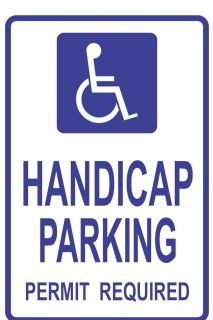 Handicap Parking Permit Required Sign with Symbol 12 x 18 040