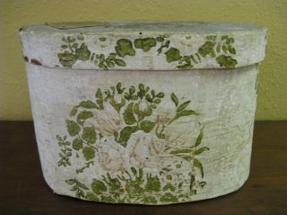 Antique Hannah Davis bentwood band hat box painted wallpaper