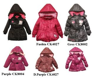 Girls Hello Kitty Charmmykitty Hooded Winter Jacket Coat 3style