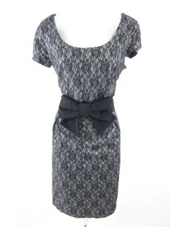 Helene Berman Gray Black Lace Cap Sleeve Dress Sz 10