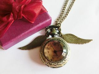 harry potter wings steampunk snitch pocket watch necklace pendant