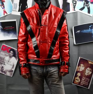 Michael Jackson MJ Costume Thriller Red Leather Jacket Replica
