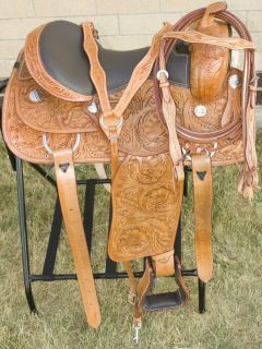 Western Hand Carved Reining Trail Horse Leather Saddle Tack w/ Hay Bag