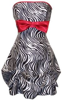 Zebra Strapless Satin Bubble Prom Dress Holiday Coctail