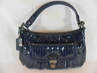 Coach Dark Cobalt Blue Patent Leather Groovy Shoulder Bag