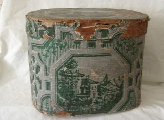 ANTIQUE Hannah Davis Wallpaper Band Box Hat Box w Label Large Circa