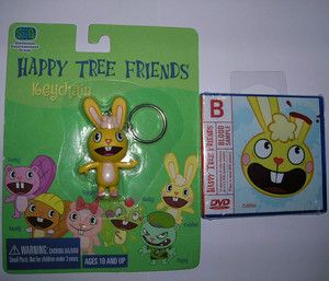 new Happy Tree Friends Blood Sample DVD & Cuddles key chain toy figure
