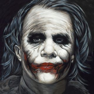 Joker Batman Dark Knight Heath Ledger Portrait Painting Canvas Art
