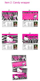 Hello Kitty Zebra 7 Party Favors Personalized Candy Wrappers Toppers