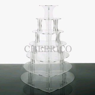 7 Tier Heart Acrylic Cupcake Stand Tower Cup Cake Display