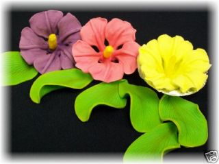 Edible cake decorations ~ royal icing hibiscus & leaves