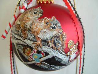 Hand Painted Squirrel Christmas Glass Ball Ornament