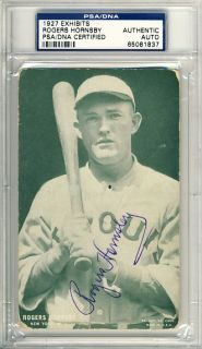 1927 Exhibits Rogers Hornsby Signed Autographed Postcard PSA DNA