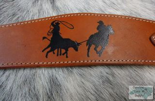 Roping Stencilled Roper Style Leather Breast Collar NEW HORSE TACK