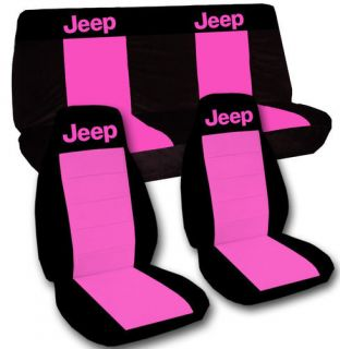 Jeep Wrangler TJ Car Seat Covers in Black Hot Pink with Pink Jeep