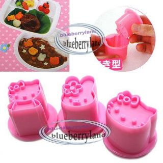Sanrio HELLO KITTY Vegetable Cookie Mold Cutter 3 Stamp mould kitchen
