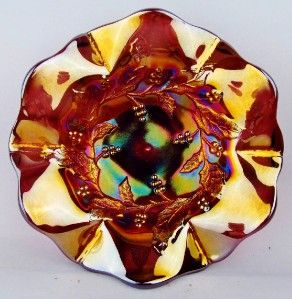 HOLLY SPRIG by MILLERSBURG ~ GOLDEN RADIUM AMETHYST 7 CARNIVAL GLASS
