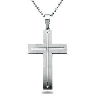 Mens Stainless Steel Cross Necklace with Diamond Jewelry