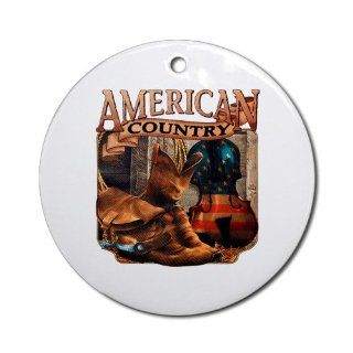 Ornament (Round) American Country Boots And Fiddle Violin