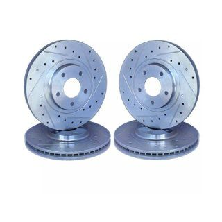 Cross Drilled and Slotted Front and Rear Brake Rotors LINCOLN TOWN CAR