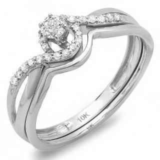 0.25 Carat (ctw) 10k White Gold Round Diamond Ladies Swirl