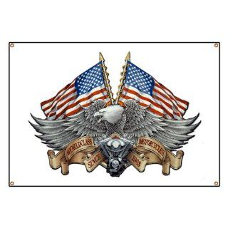 Banner Eagle American Flag and Motorcycle Engine