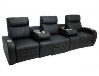 Rialto Home Theater Seating 3 Seats / 2 Flip Arms Black Manual Leather