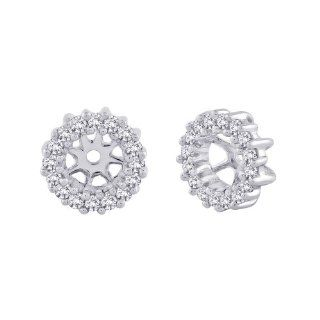10K White Gold 1/4 ct. Diamond Earring Jackets Jewelry