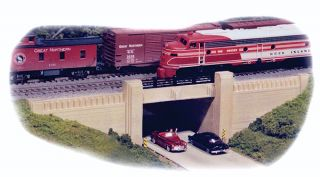 HO Scale Art Deco Double Track Underpass Bridge Hydrocal Kit