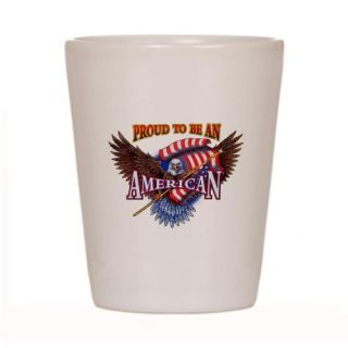 Shot Glass White of Proud To Be An American Bald Eagle and