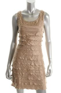 Jessica Howard New Beige Tiered Sleeveless Cocktail Evening Dress
